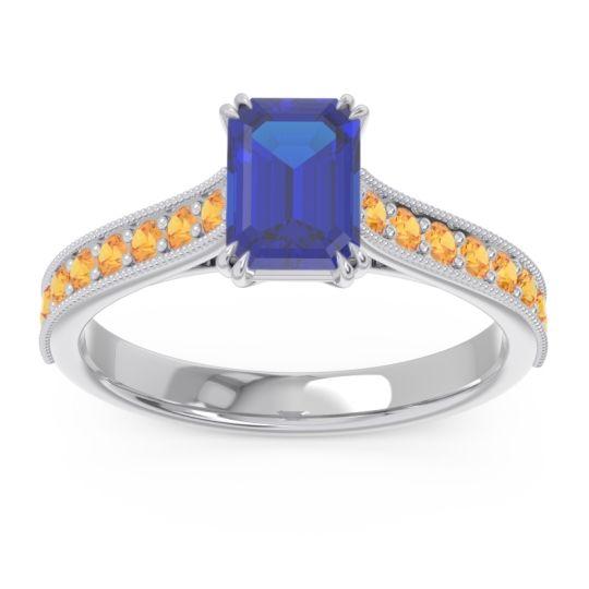 Pave Milgrain Emerald Cut Druna Blue Sapphire Ring with Citrine in Palladium