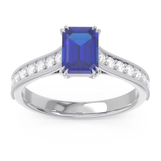 Pave Milgrain Emerald Cut Druna Blue Sapphire Ring with Diamond in Platinum