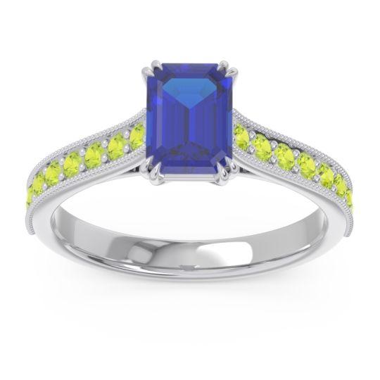 Pave Milgrain Emerald Cut Druna Blue Sapphire Ring with Peridot in Platinum