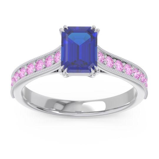 Pave Milgrain Emerald Cut Druna Blue Sapphire Ring with Pink Tourmaline in 18k White Gold