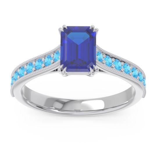 Pave Milgrain Emerald Cut Druna Blue Sapphire Ring with Swiss Blue Topaz in 18k White Gold