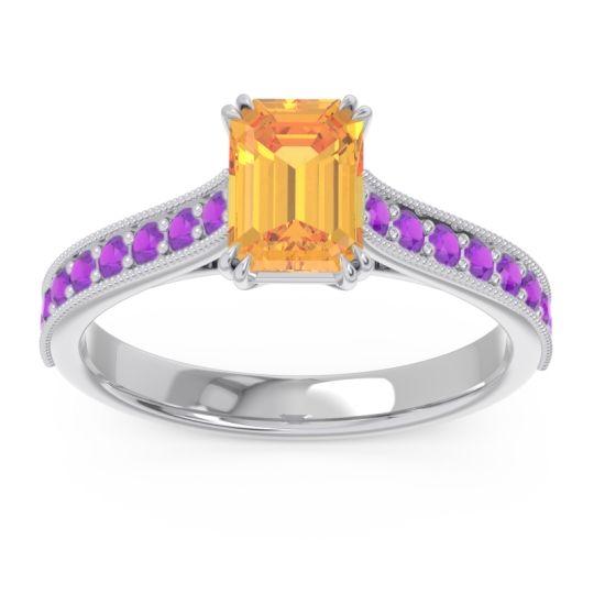 Pave Milgrain Emerald Cut Druna Citrine Ring with Amethyst in 14k White Gold