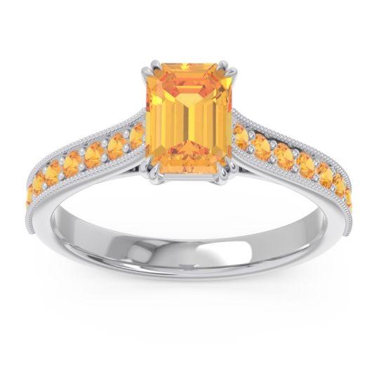 Pave Milgrain Emerald Cut Druna Citrine Ring in Platinum