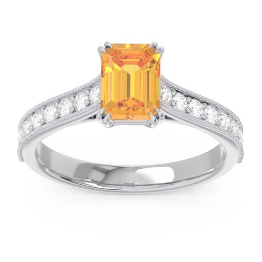 Pave Milgrain Emerald Cut Druna Citrine Ring with Diamond in 18k White Gold