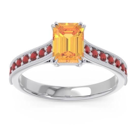 Pave Milgrain Emerald Cut Druna Citrine Ring with Garnet in 14k White Gold