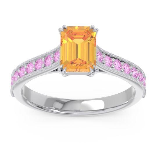 Pave Milgrain Emerald Cut Druna Citrine Ring with Pink Tourmaline in Palladium