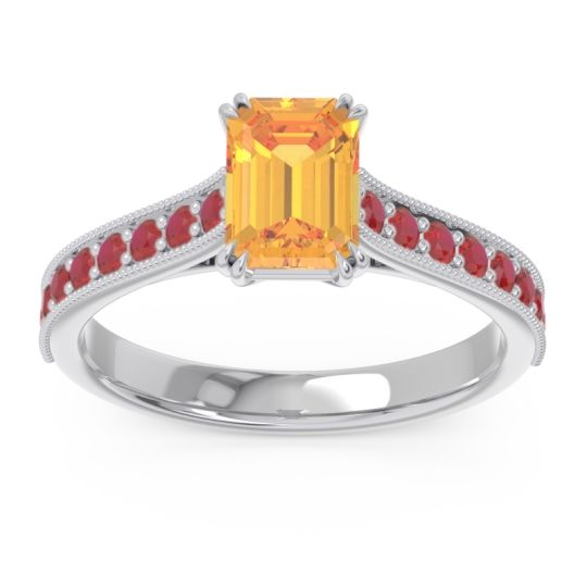 Pave Milgrain Emerald Cut Druna Citrine Ring with Ruby in 14k White Gold