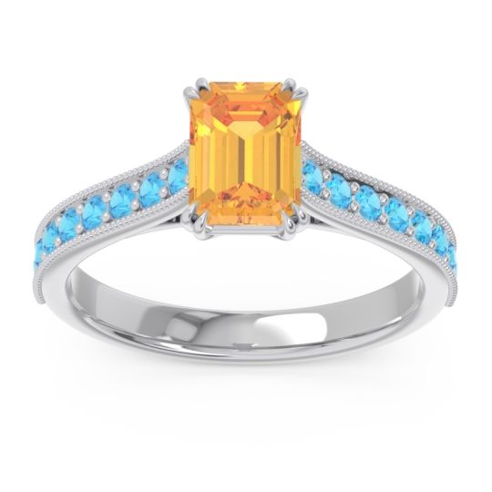 Pave Milgrain Emerald Cut Druna Citrine Ring with Swiss Blue Topaz in 18k White Gold