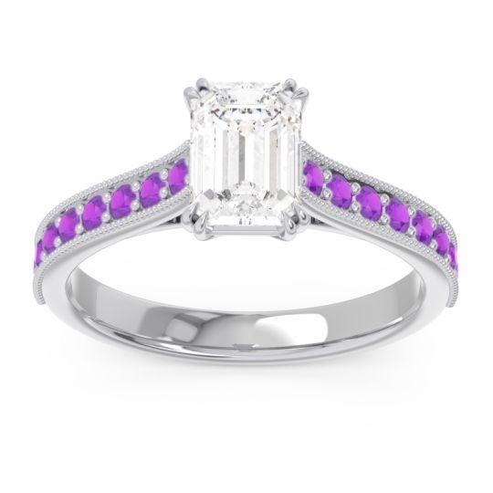 Pave Milgrain Emerald Cut Druna Diamond Ring with Amethyst in 14k White Gold