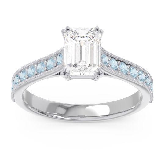 Pave Milgrain Emerald Cut Druna Diamond Ring with Aquamarine in Palladium