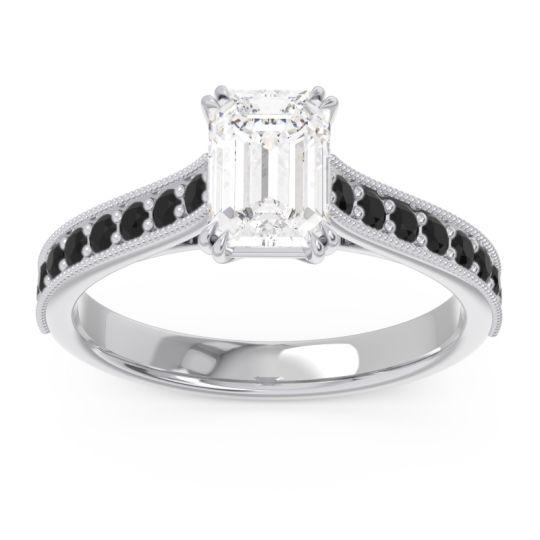 Pave Milgrain Emerald Cut Druna Diamond Ring with Black Onyx in Platinum