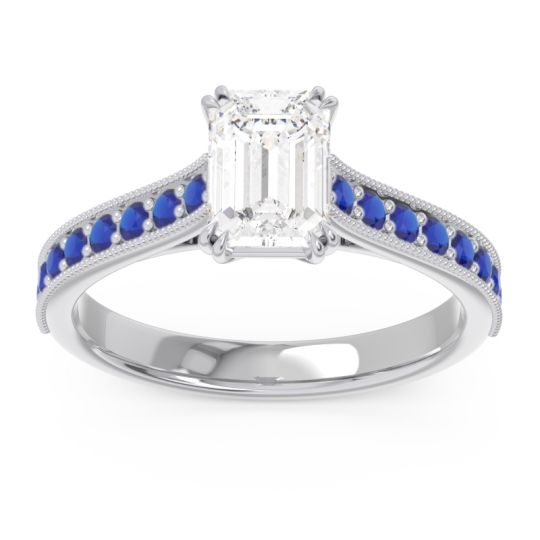Pave Milgrain Emerald Cut Druna Diamond Ring with Blue Sapphire in 18k White Gold