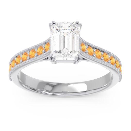 Pave Milgrain Emerald Cut Druna Diamond Ring with Citrine in 18k White Gold