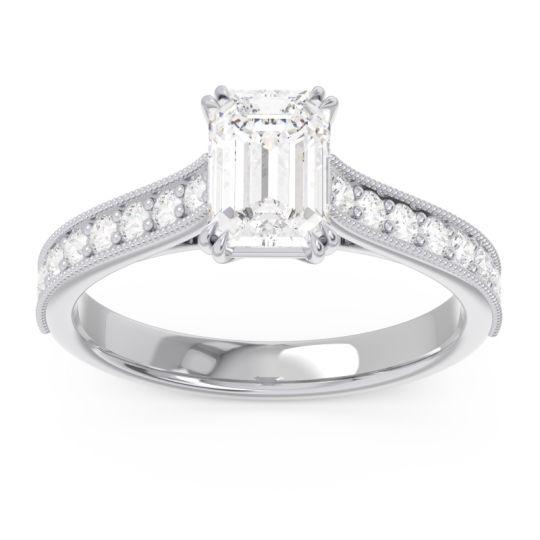 Pave Milgrain Emerald Cut Druna Diamond Ring in Platinum