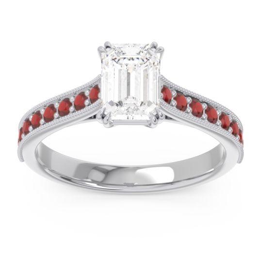 Pave Milgrain Emerald Cut Druna Diamond Ring with Garnet in Platinum
