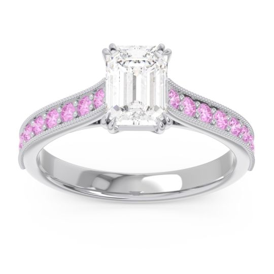 Pave Milgrain Emerald Cut Druna Diamond Ring with Pink Tourmaline in Palladium