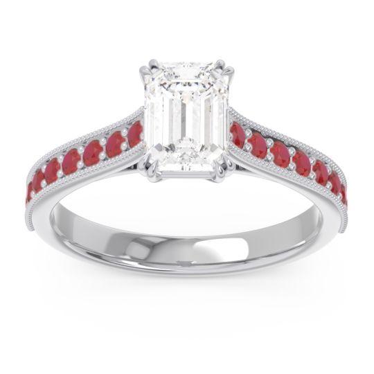 Pave Milgrain Emerald Cut Druna Diamond Ring with Ruby in Platinum