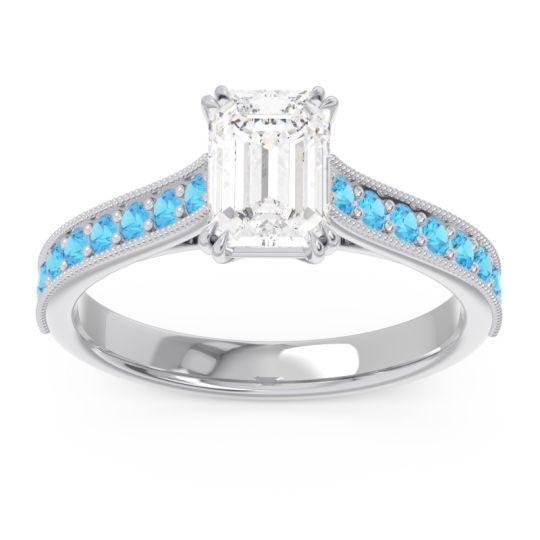 Pave Milgrain Emerald Cut Druna Diamond Ring with Swiss Blue Topaz in Platinum