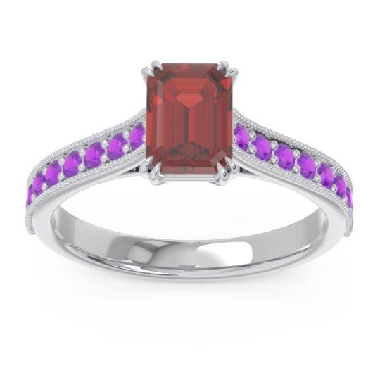 Pave Milgrain Emerald Cut Druna Garnet Ring with Amethyst in Platinum