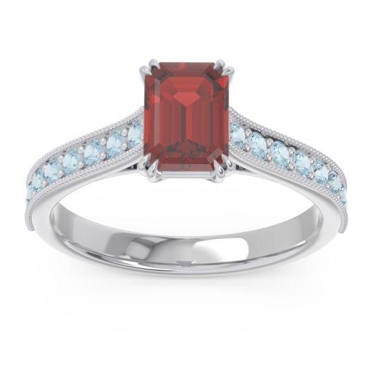 Pave Milgrain Emerald Cut Druna Garnet Ring with Aquamarine in 14k White Gold