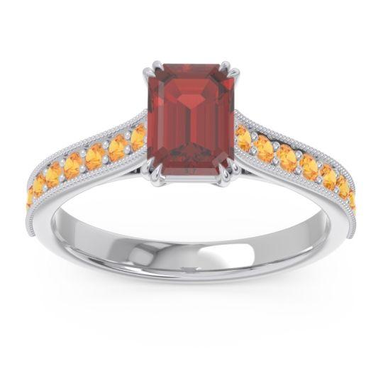 Pave Milgrain Emerald Cut Druna Garnet Ring with Citrine in 18k White Gold