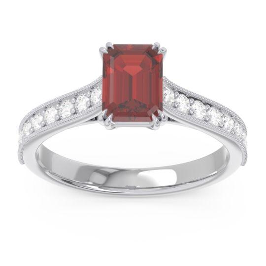 Pave Milgrain Emerald Cut Druna Garnet Ring with Diamond in Platinum