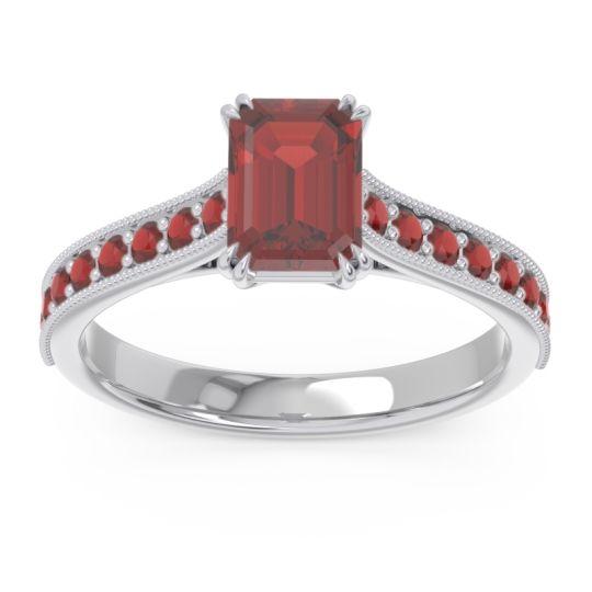 Pave Milgrain Emerald Cut Druna Garnet Ring in 18k White Gold