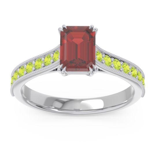 Pave Milgrain Emerald Cut Druna Garnet Ring with Peridot in 18k White Gold