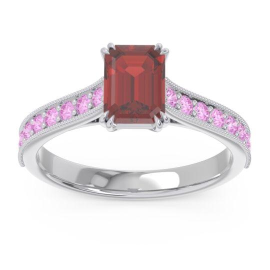 Pave Milgrain Emerald Cut Druna Garnet Ring with Pink Tourmaline in 18k White Gold