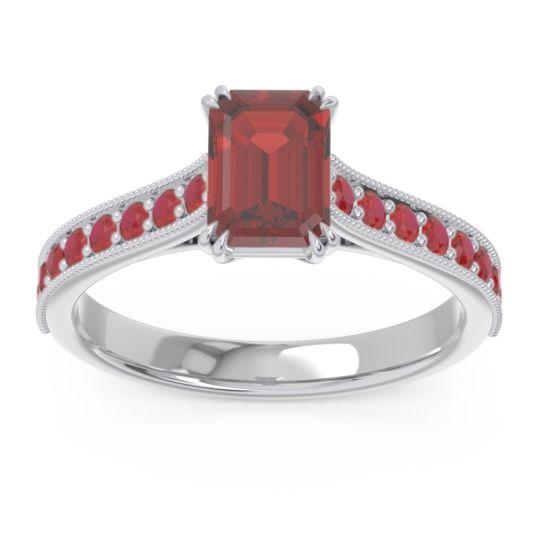Pave Milgrain Emerald Cut Druna Garnet Ring with Ruby in 14k White Gold