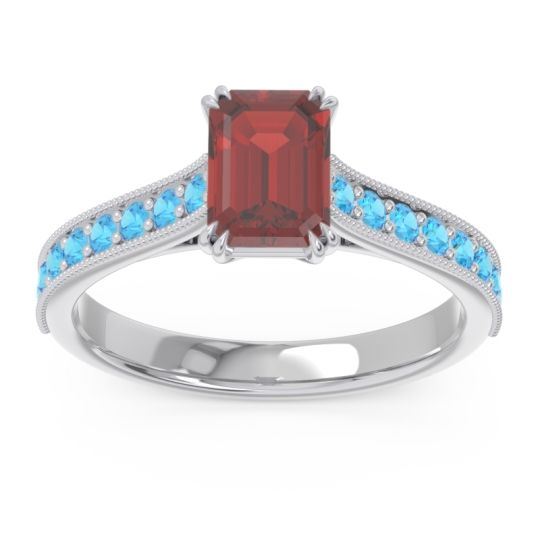 Pave Milgrain Emerald Cut Druna Garnet Ring with Swiss Blue Topaz in 14k White Gold