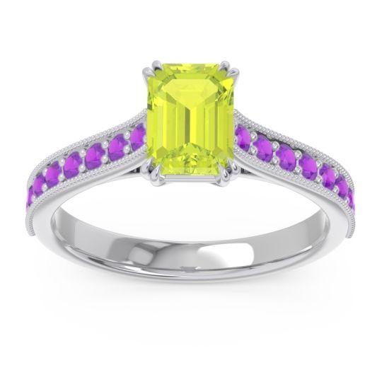 Pave Milgrain Emerald Cut Druna Peridot Ring with Amethyst in Platinum