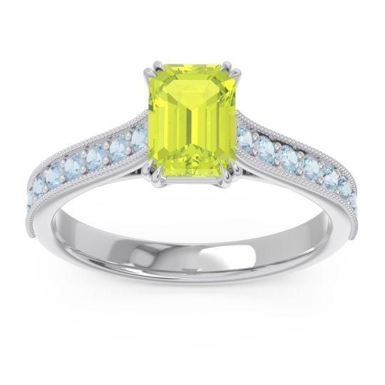 Pave Milgrain Emerald Cut Druna Peridot Ring with Aquamarine in 14k White Gold