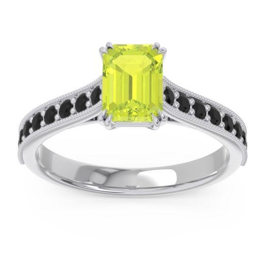Pave Milgrain Emerald Cut Druna Peridot Ring with Black Onyx in 14k White Gold