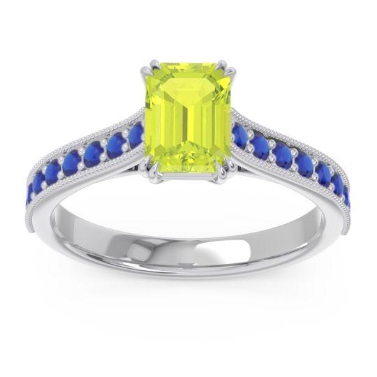 Pave Milgrain Emerald Cut Druna Peridot Ring with Blue Sapphire in Palladium
