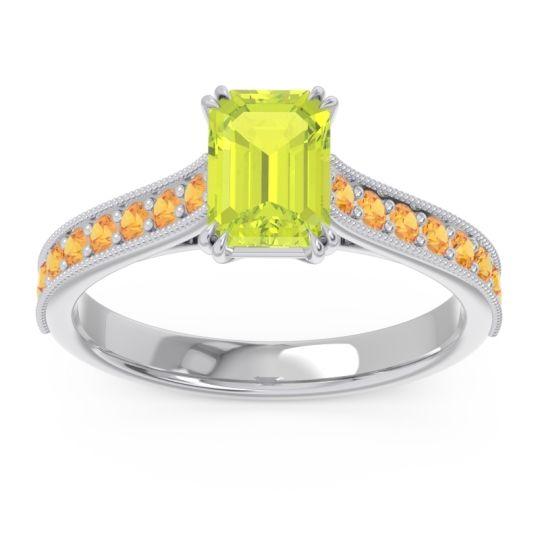 Pave Milgrain Emerald Cut Druna Peridot Ring with Citrine in Platinum