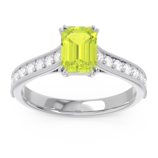 Pave Milgrain Emerald Cut Druna Peridot Ring with Diamond in Palladium