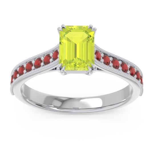 Pave Milgrain Emerald Cut Druna Peridot Ring with Garnet in Palladium