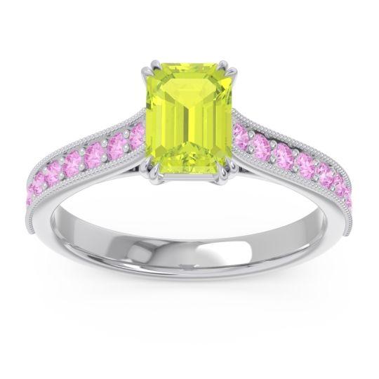 Pave Milgrain Emerald Cut Druna Peridot Ring with Pink Tourmaline in Palladium