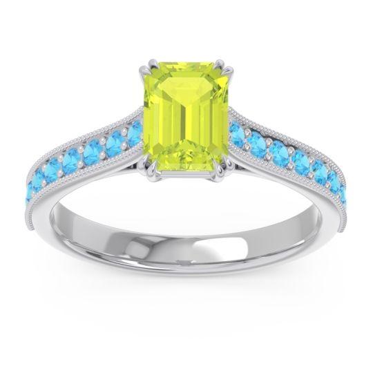 Pave Milgrain Emerald Cut Druna Peridot Ring with Swiss Blue Topaz in 18k White Gold