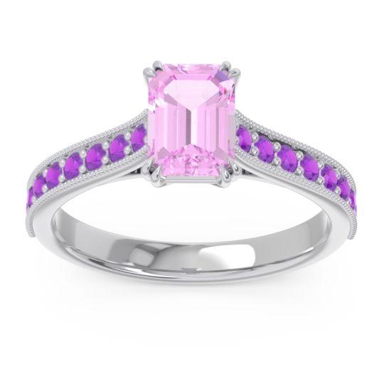 Pave Milgrain Emerald Cut Druna Pink Tourmaline Ring with Amethyst in 18k White Gold