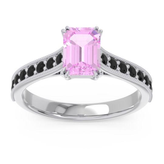 Pave Milgrain Emerald Cut Druna Pink Tourmaline Ring with Black Onyx in Palladium