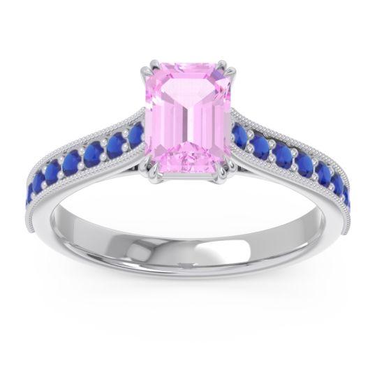 Pave Milgrain Emerald Cut Druna Pink Tourmaline Ring with Blue Sapphire in 18k White Gold