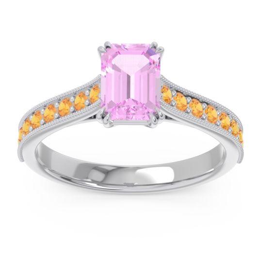 Pave Milgrain Emerald Cut Druna Pink Tourmaline Ring with Citrine in 18k White Gold