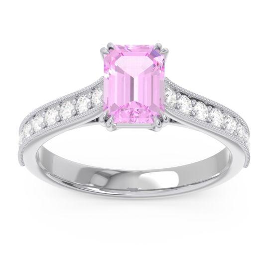 Pave Milgrain Emerald Cut Druna Pink Tourmaline Ring with Diamond in 14k White Gold