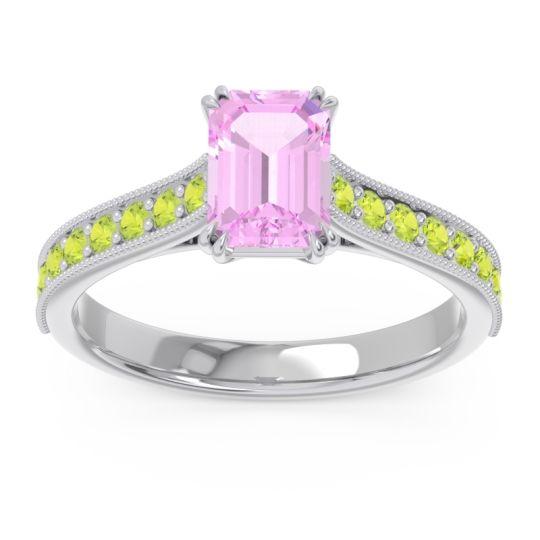 Pave Milgrain Emerald Cut Druna Pink Tourmaline Ring with Peridot in 18k White Gold