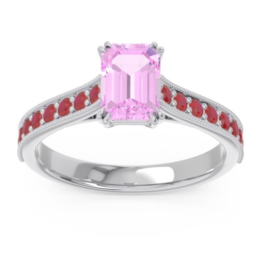 Pave Milgrain Emerald Cut Druna Pink Tourmaline Ring with Ruby in 18k White Gold