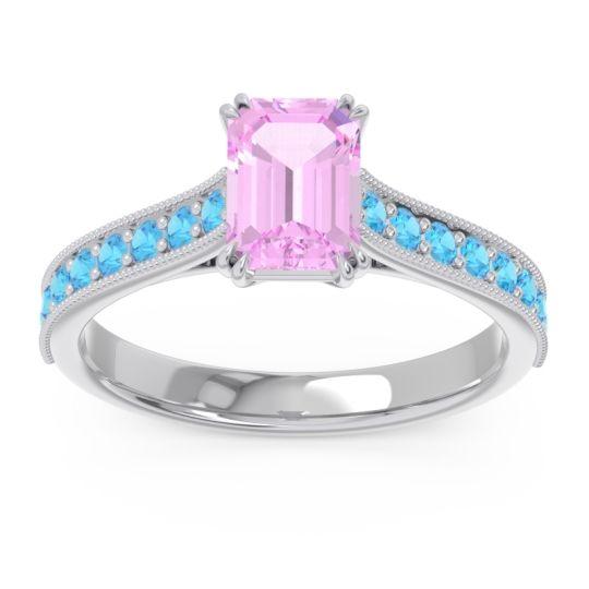 Pave Milgrain Emerald Cut Druna Pink Tourmaline Ring with Swiss Blue Topaz in Palladium