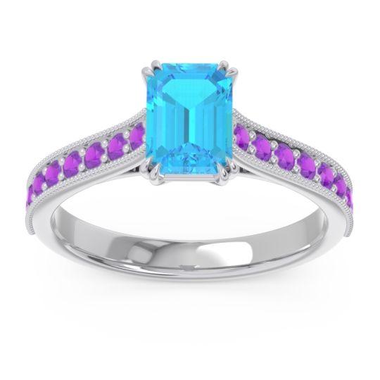 Pave Milgrain Emerald Cut Druna Swiss Blue Topaz Ring with Amethyst in Palladium