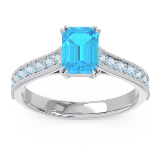 Pave Milgrain Emerald Cut Druna Swiss Blue Topaz Ring with Aquamarine in 14k White Gold